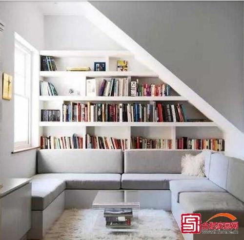 温馨整洁阅读区 实用沙发背景书柜设计